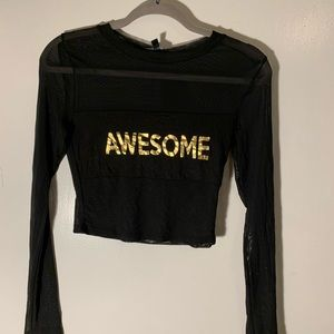 """NWT """"Awesome"""" Graphic Mesh Long Sleeve"""